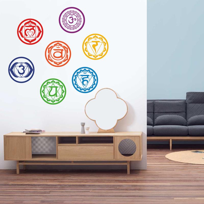 Yoga 7 Chakras Wall Sticker Meditation Bedroom Yoga Room Wall Mural Decals Vinyl