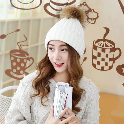 3e49dd5aead21 Winter And Autumn Large Sized Fur Hat With Fur 15cm Pompom Ball Top Beanies