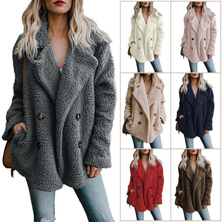 EnjoyTime Зимние женщины пушистый плюшевый faux мех Тедди Outwear Дамы Длинные плюшевые пальто – купить по низким ценам в интернет-магазине Joom
