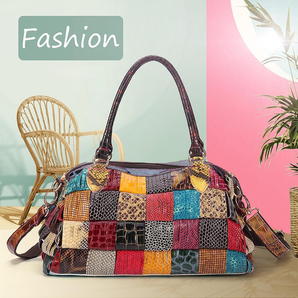 Мода женщин Чешской Большой емкость Подлинные кожаные сумки patchwork ручной кроссбоди сумки – купить по низким ценам в интернет-магазине Joom