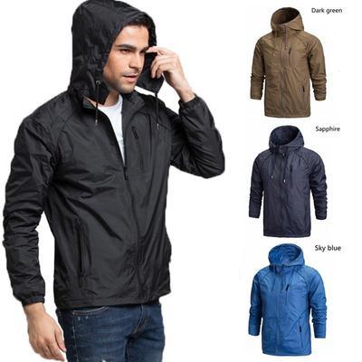 67016b4eda5b Мужская случайный тонкий Воат куртка с капюшоном открытый ветровка  спортивной ...