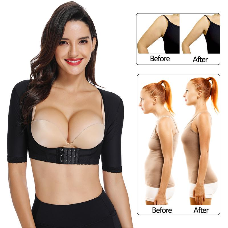 Womens Upper Arm Shaper Slimmer Compression Sleeves Chest Support Shapewear Posture Corrector