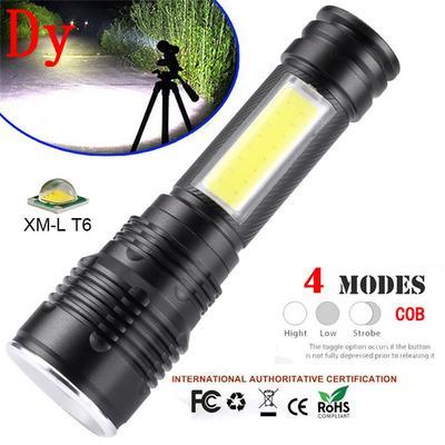 Portable XM-L T6 COB LED Flashlight Zoomable 18650 Torch Light Lamp Lantern