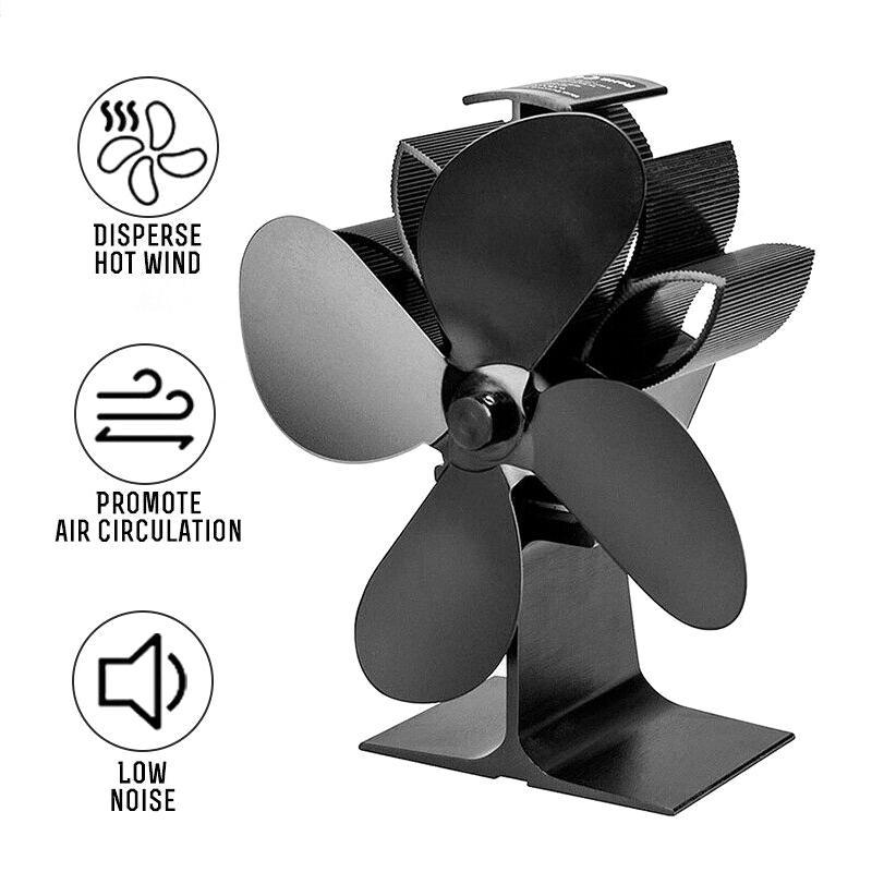 1100RPM 4 Blades Silent Heat Powered Wall Mounted Stove Fan Wood Fireplace Fan