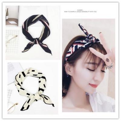 Women Soft Silk Square Scarf Wrist Plain Neckerchief Head Neck Party Headband Z0