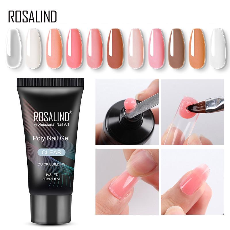 ROSALIND Builder Crystal Gel 30ml Poly Nail Finger Extension Polish UV LED Soak Off 6 Colors