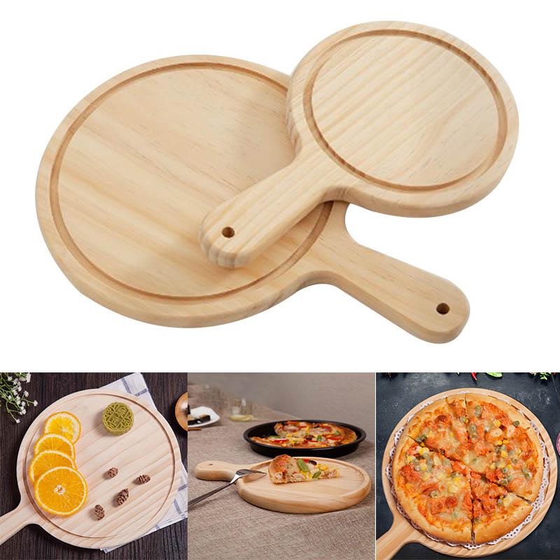 Round Wooden Pizza Peel Chopping Board Cutting Serving Pizza Tray 7inch