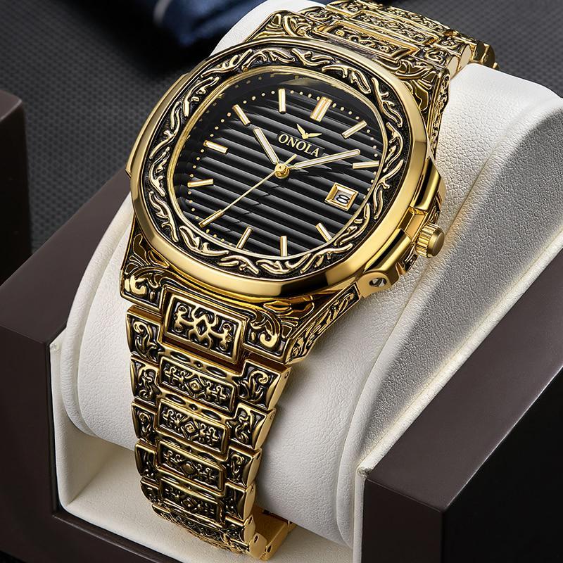 Творческий дизайн Ретро Мужчины Кварц Wristwatches Календарь водонепроницаемый мода Бренд Роскошные мужские часы фото