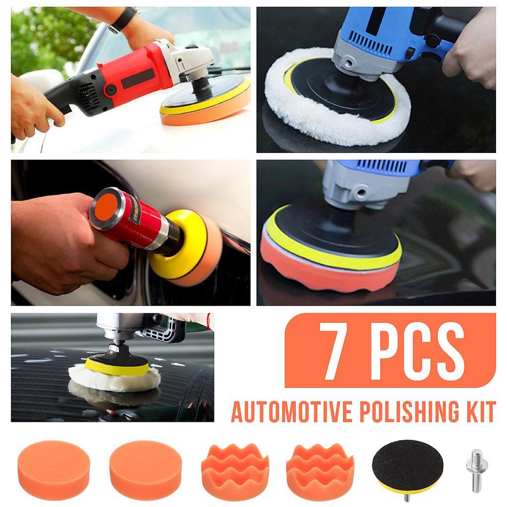 "5Pcs//Set Car Buffing Sponge Polishing Wax Pad Kit For Electric Polisher 3//4//5//6/"""