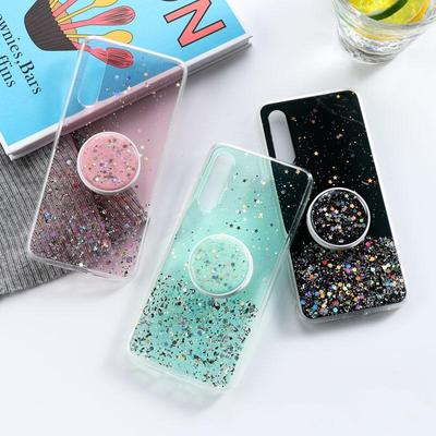Transparent Shiny Starry Round Folding Bracket Phone Back Cover Case for Xiaomi Remi 10X Note 9 4X 5A 7A 9A 9C K20 K30 Note 6 7 8 8T 9S 9 Pro Poco X2