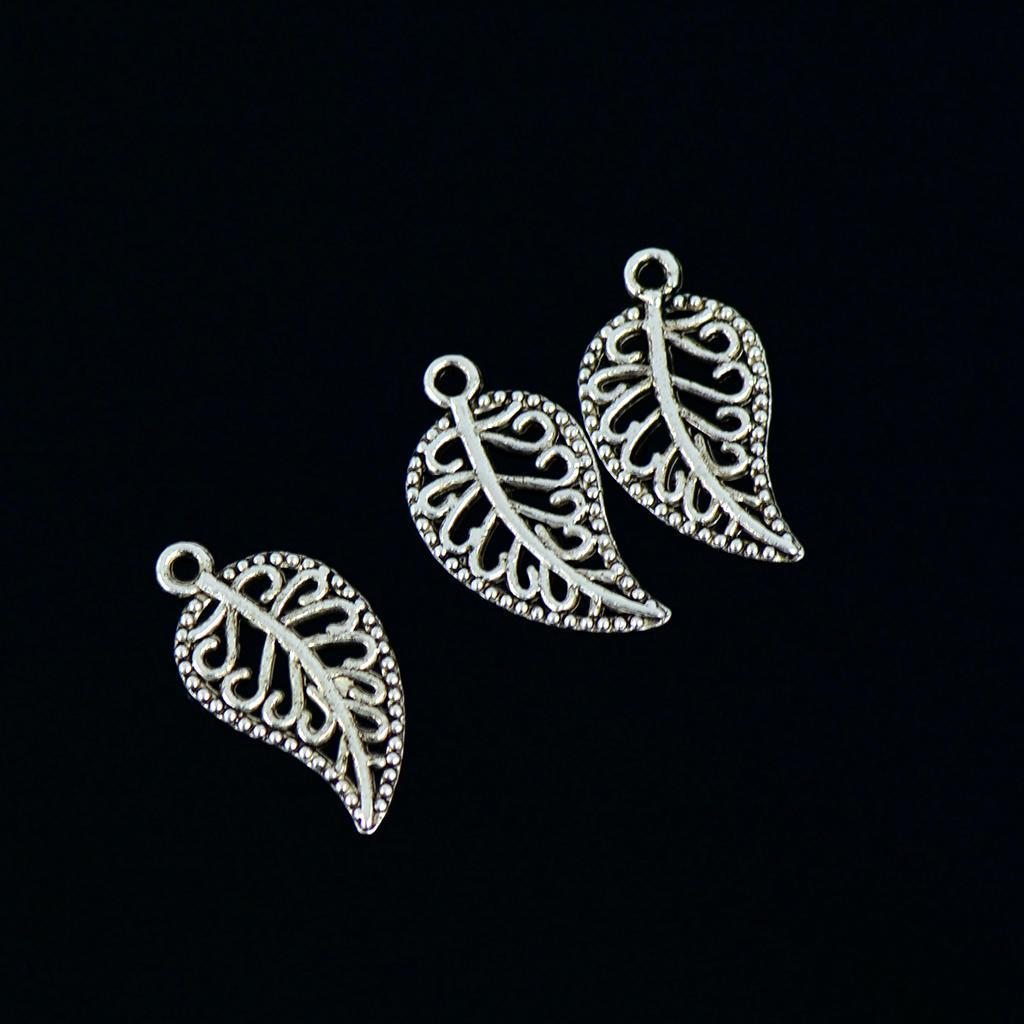 50X Charm Filigree Hollow Leaves Pendant DIY Jewelry Making Leaves Metal CraftYR