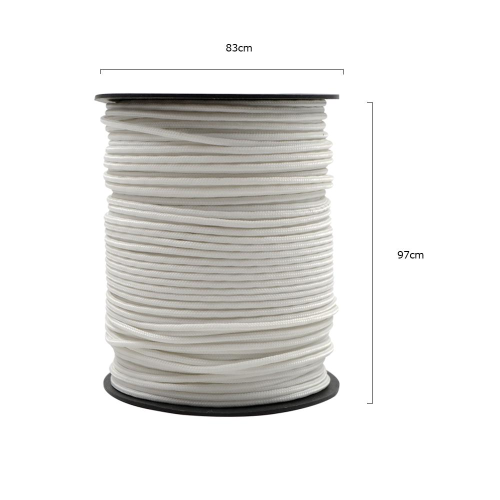 4 X 4 Metre Tent Guy ropes White 3mm Polyester With Metal Runners