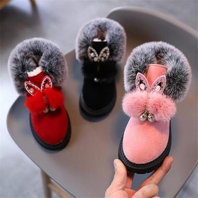 Winter Children Snow Boots Flat Girls Princess Cotton Shoes Fashion Thick Velvet Short Tube Baby Boots