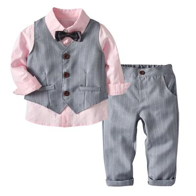 3Pcs Set Kids Baby Boys Plaid Printed Shirt Vest Pants Long Sleeve Outfits Suit