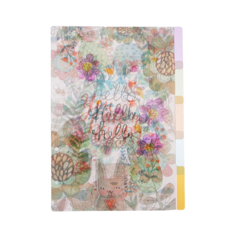 RUZYY 5Pieces Floral Category Page Planner Index Page Notebook Translucent 6 Hole Binder A6-1