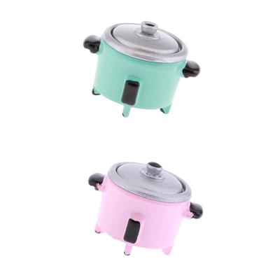 1//12 Dolls House Miniature Metal Pink Pot Kitchen Cookware Kids Pretend Toy