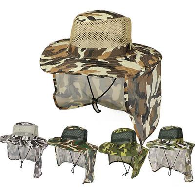 Camo Fisherman Hat Wide Brim Sunshade Hat Cover Face Hat Fishing Outdoor Unisex
