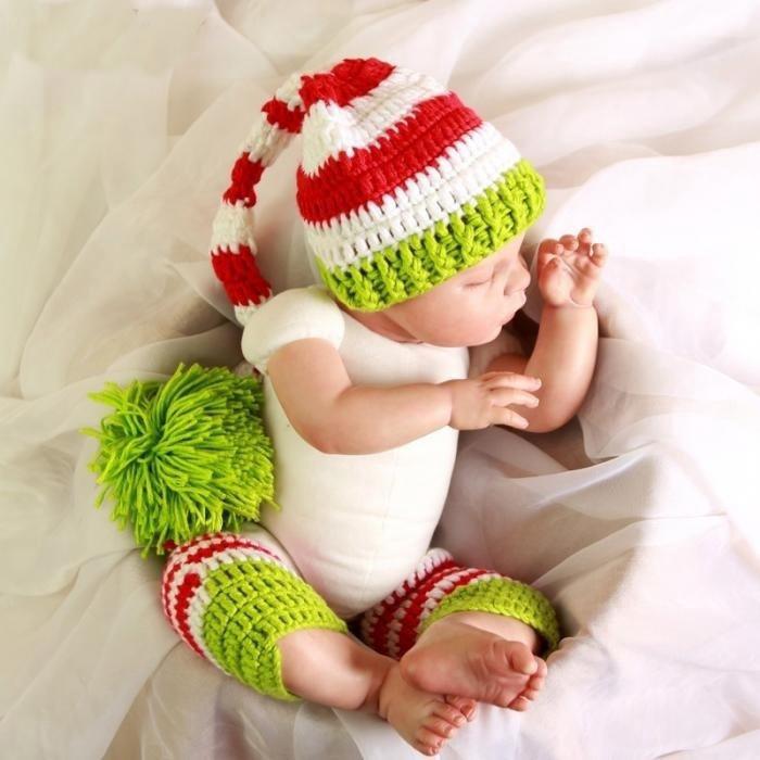 Lindo bebé sombrero + polainas tejidas a mano traje de punto recién ...