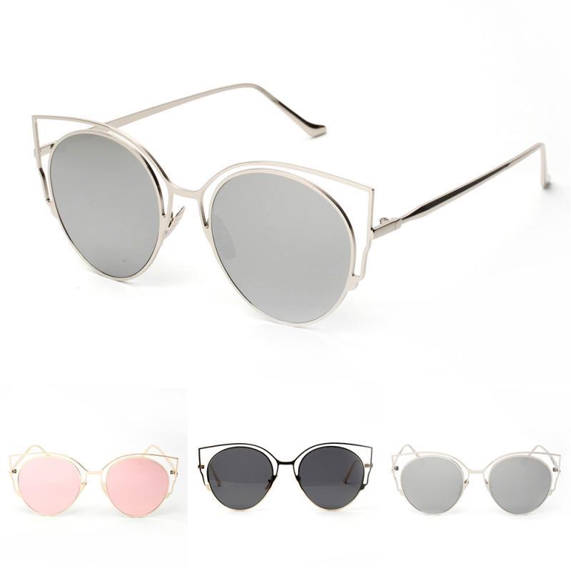 Mode Frauen Sonnenbrille Metallrahmen Brille Spiegel Brillen ...