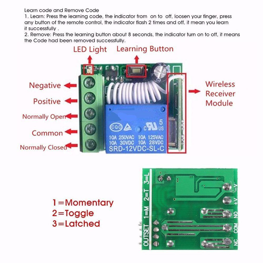 Diy Integrated Circuits 12v 1ch 10a Receiver Module Rf Switch 4 Channel Momentary Remote Wiring Diagram 1 Of 8