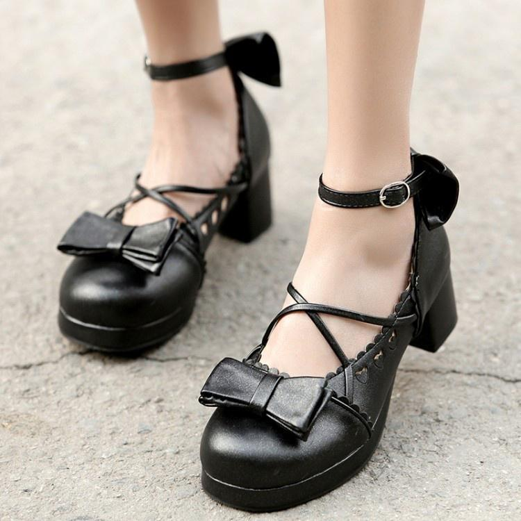 100FIXEO Spring Women Comfort Platform Lolita Shoes Cosplay Chunky Heel Cute Bow Mary Jane Shoes Round Toe Ankle Strap Kawaii Cross-Tied Princess Uniform Shoes