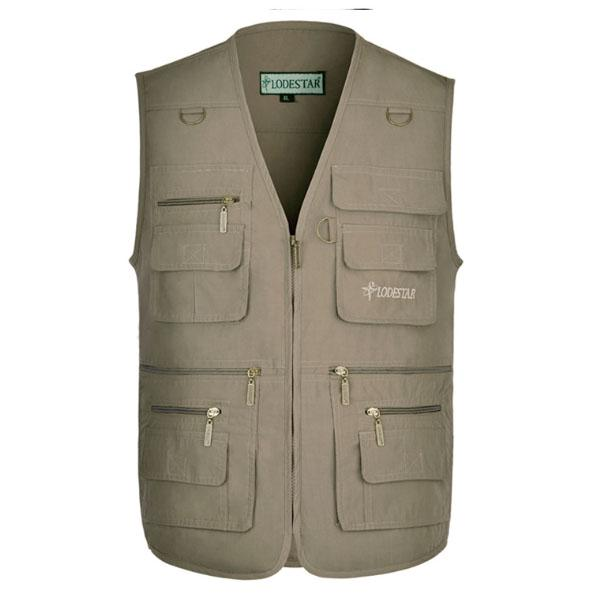 Men Denim Cotton Vest Outdoor Sleeveless Protective Vest Jacket Photographer Multi pocket Vest