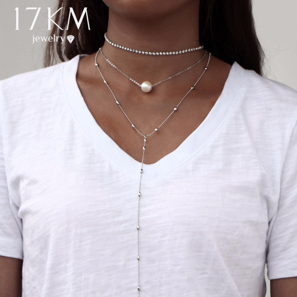 Fashion Women Crystal Multi-Layer Choker Collar Pendant Chain Necklace Jewelry