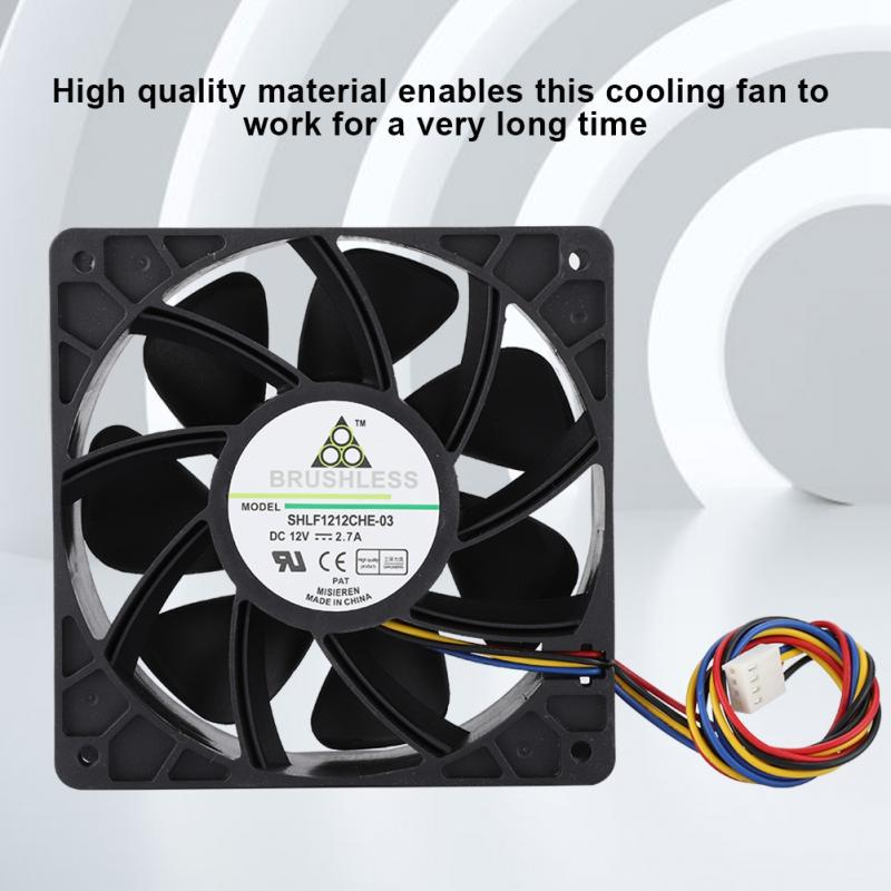 Cooling Fan,Black DC 12V 2.7A 6000 RPM 7 Fan Blades Cooling Fan Heat Sink Cooler with 4-Wire 4pin Connector for Antminer S7 S9