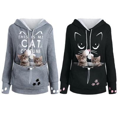 Women Shirt Ladies Casual Long Sleeve Hooded Pocket Meow Pet Sweatshirt Dog Cat Holder Carrier Coat Pouch Large