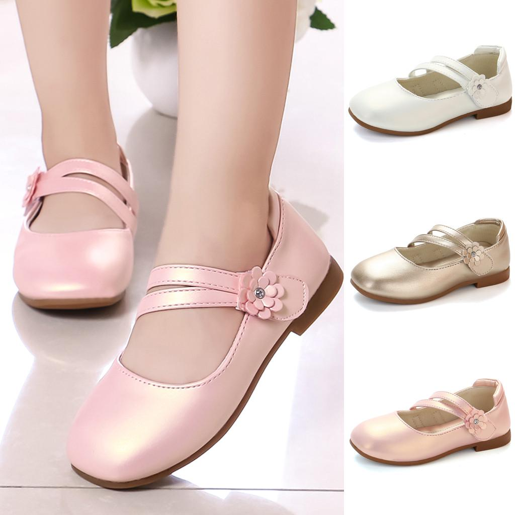 Children Kids Baby Girls Toddler Solid Leather Single Princess Shoes Sandals