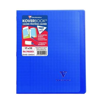 Clairefontaine 981622C Koverbook Notebook 96 Pages 24 x 32 cm 90 g Small Squares with Margin Polypropylene Cover Transparent Navy Blue