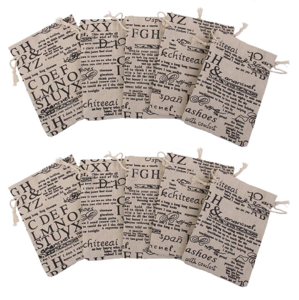 53890136a MagiDeal 10 del Hessian lino yute saco bolsa lazo regalo bolsas de ...
