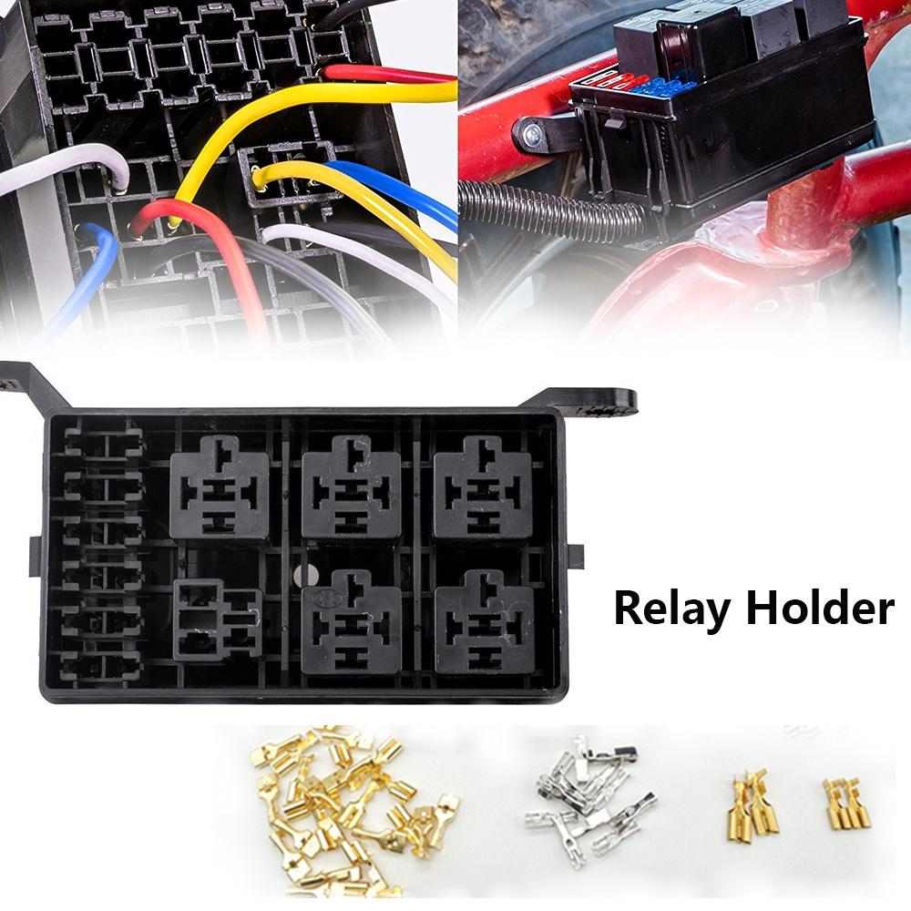 6 Relay 5-Road Auto Relay Holder Box Socket Fuse /& Waterproof Lid Insurance