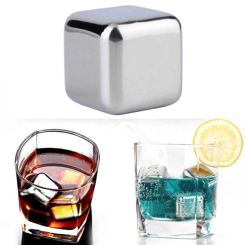 6pcs//set Stainless Steel Whiskey Wine Stones Reuseble Cooler Ice Cubes Ball