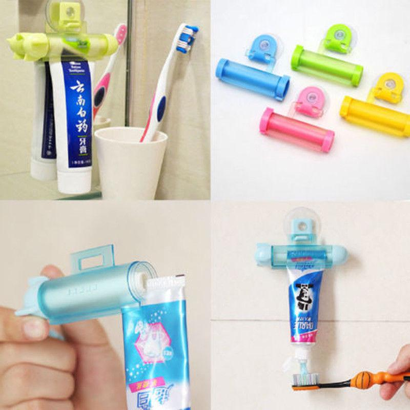 Toothpaste Dispenser Rolling Squeezer Holder Hanging Hook Suction Plastic Tube
