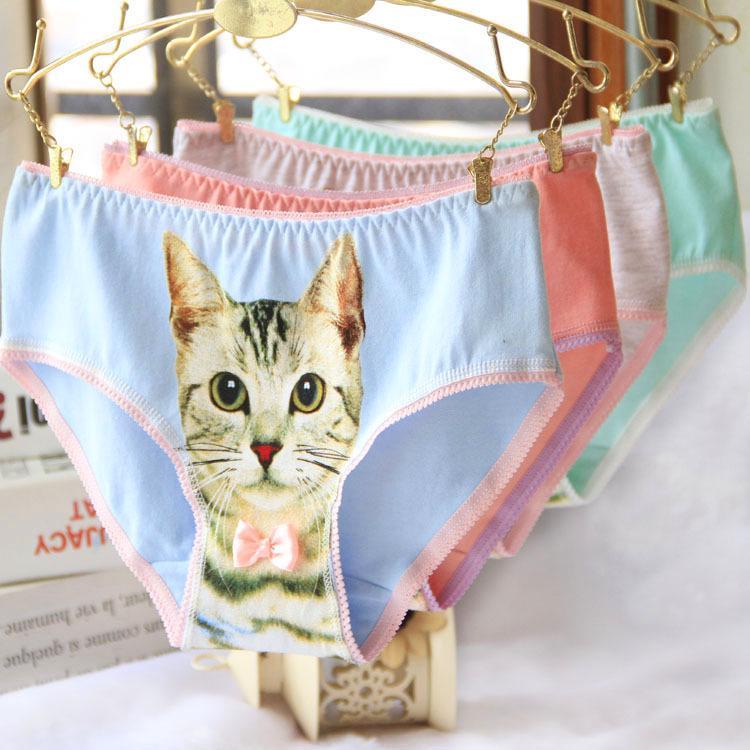 热销棉内裤妇女加上大小的内衣内裤内裤内裤性感女孩猫3D打印内衣内衣