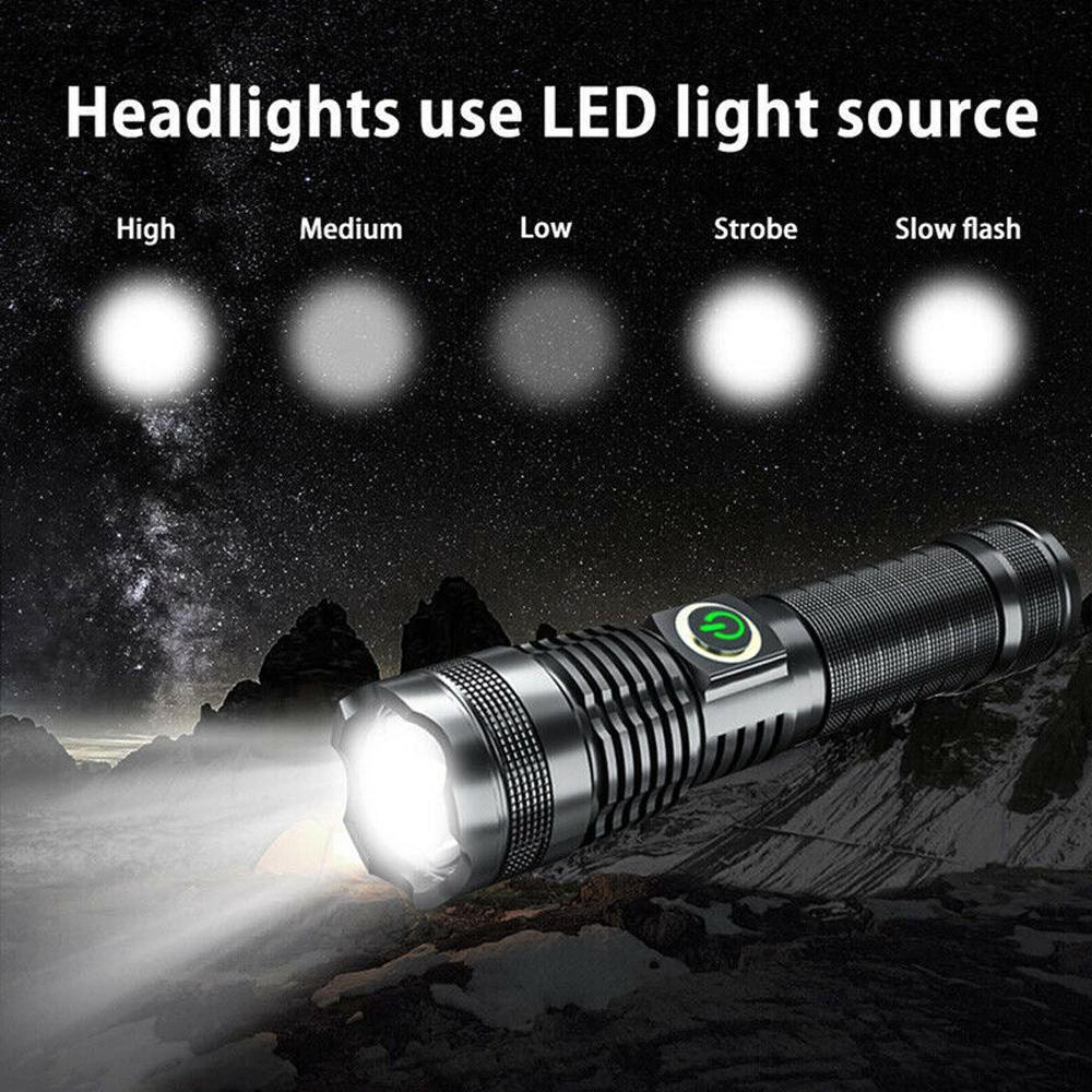 Super-bright 100000LM Flashlight LED XHP70 Tactical Torch USB+26650 Battery KS