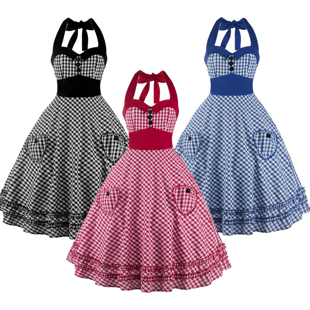 Halter Womens Check Retro Vintage 50s 60s Pinup Rockabilly Swing ...