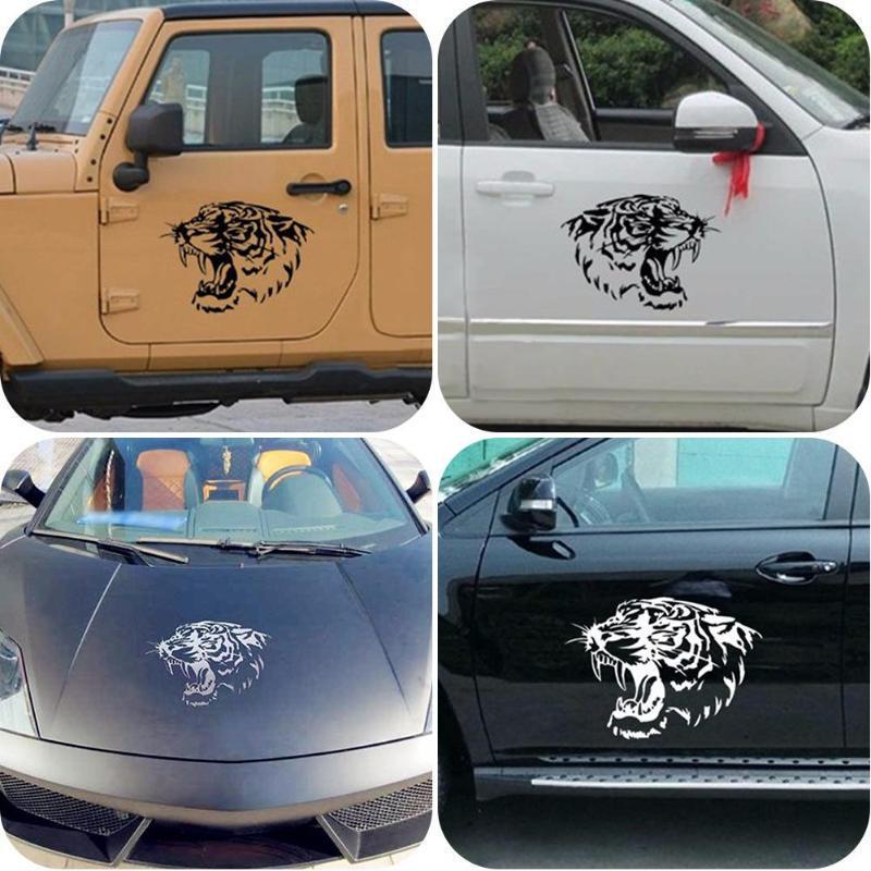 Adesivi per auto Adesivi per auto per cofano Adesivi per teste di tigre riflettenti Adesivi personalizzati per il corpo modificati 2 pezzi