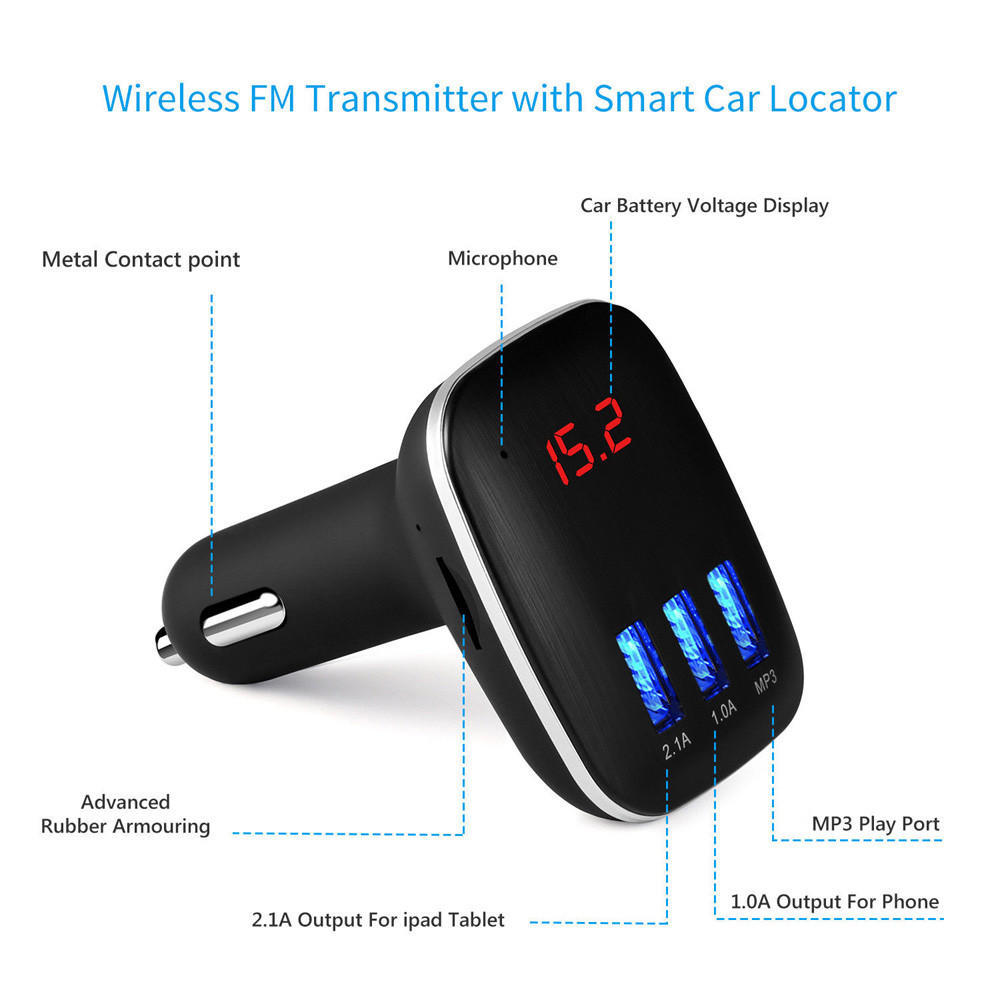 Car Kit Handsfree Lcd Mp3 Player Radio Fm Transmitter Wireless For Mobile Phones 1 Of 9