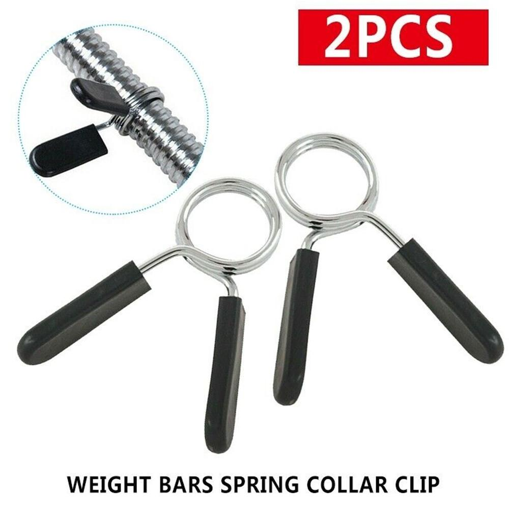 2Pcs Barbell Gym Weight Bar Dumbbell Lock Clamp Spring Collar Clips 25mm