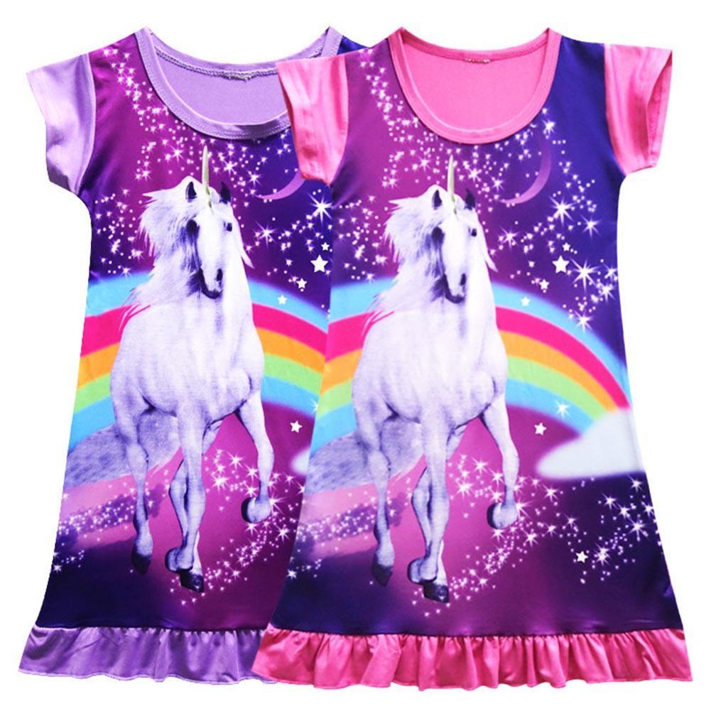 Niños unicornio camiseta Top vestido ropa de dormir camisón pijama ...