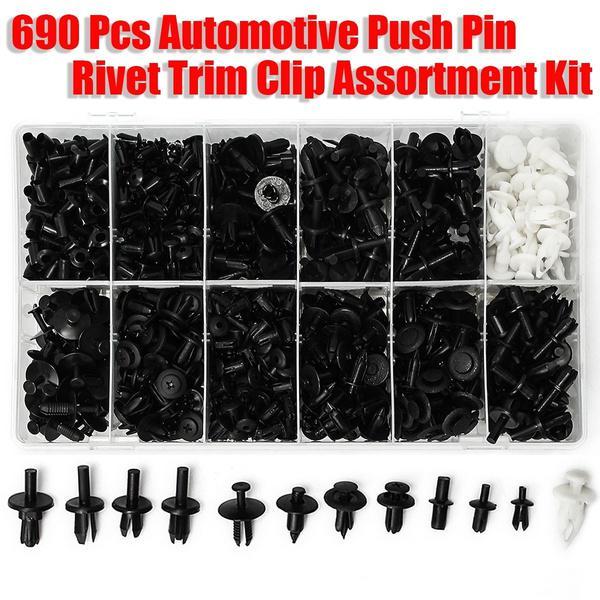 NEW 690Pcs Car Automotive Push Pin Rivet Trim Clip Panel Body Interior Assortmen