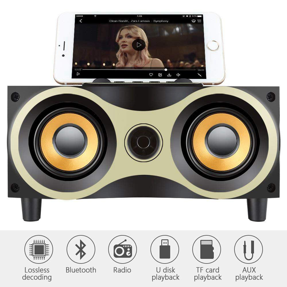 Wooden Bluetooth 4.2 Speaker Wireless Portable Subwoofer Stereo Sound Box FM TF