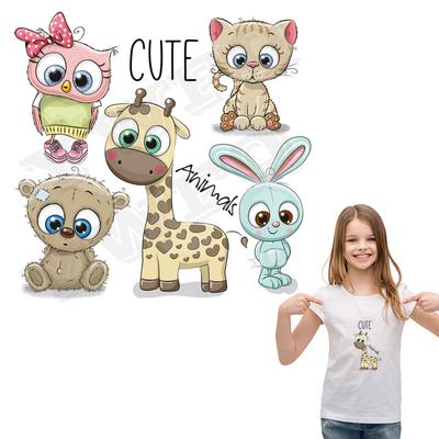 Cute Animals Heat Patches Rabbit Stickers On T-Shirts Custom Accessory Iron On Applique For Kids