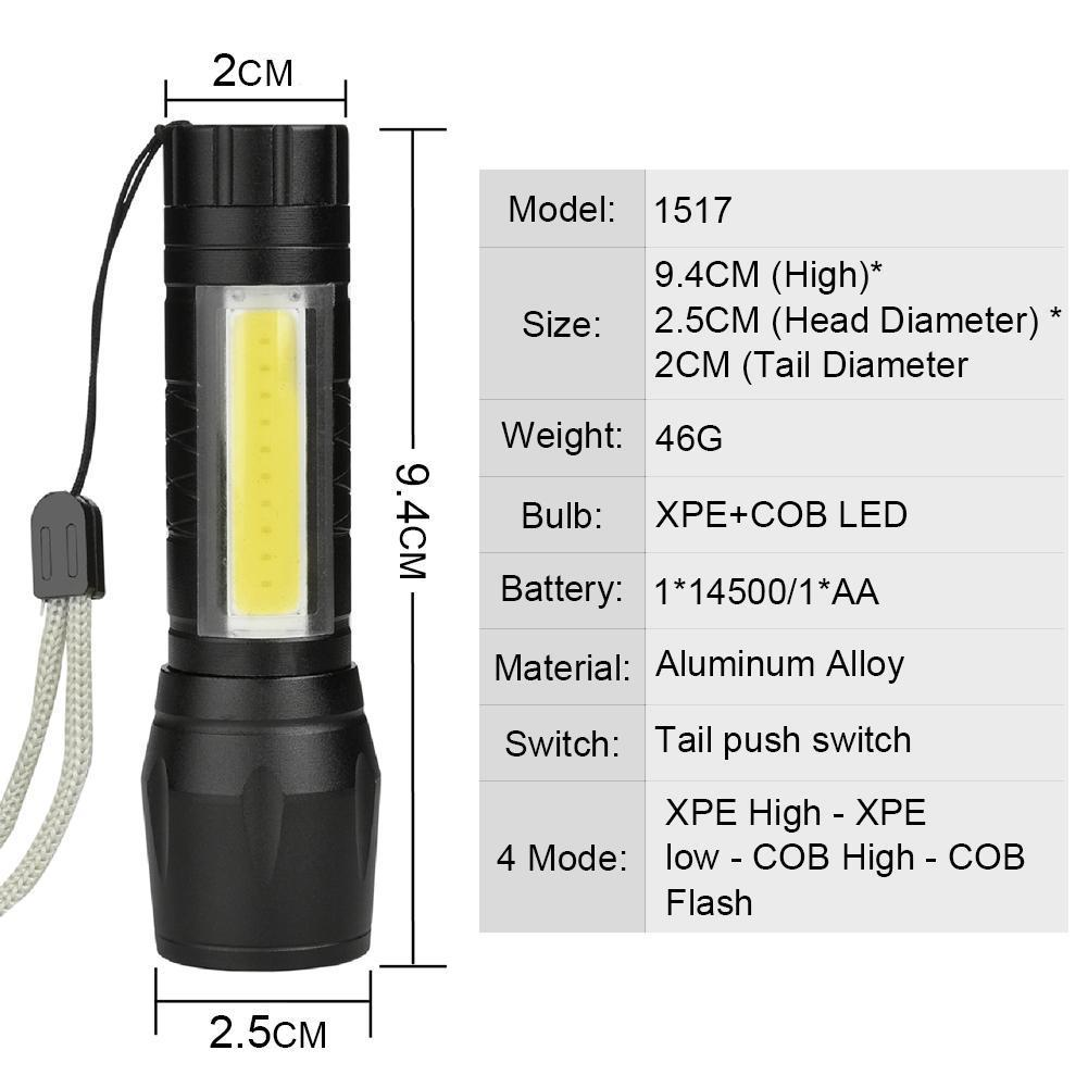 Yunmai 1000LM XPE+COB LED Flashlight 14500//AA 4 modes Pocket Clip Torch