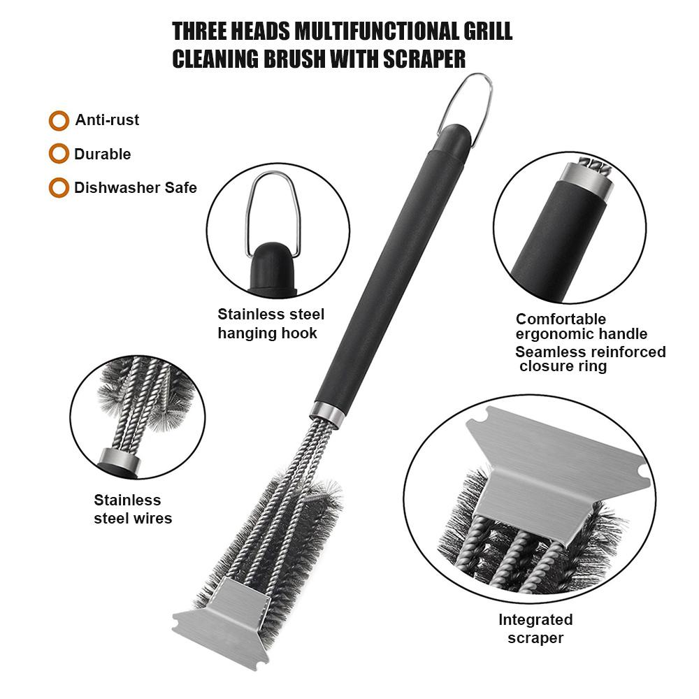 BBQ Grill Cleaning Brush Stainless Steel Wire Bristle Barbecue Scraper Durable