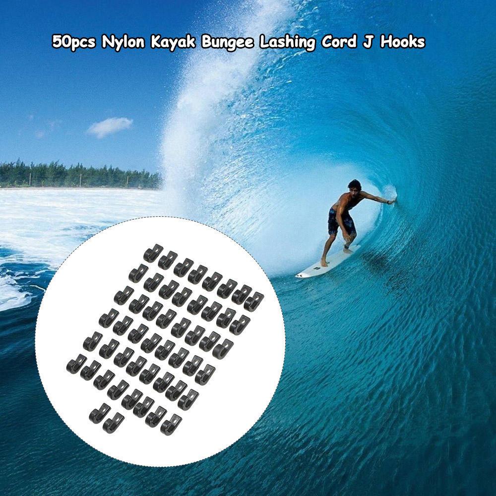 50pcs Nylon Bungee Lashing Shock Cord J Hooks Tie Down Hook for Kayak Canoe Boat