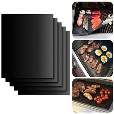 BBQ Grill Mat Non-Stick Cook Bake Grilling Tools Barbecue Pad Teflon Fiber 3pcs