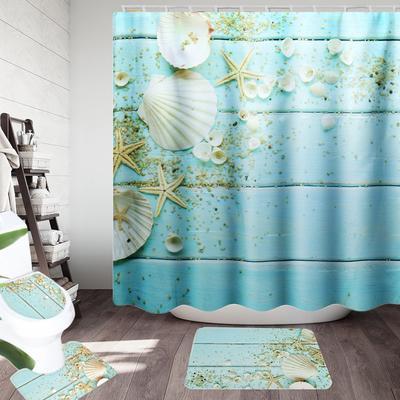 1//3//4PCS Sakura Snow Mountain Bathroom Shower Curtain Toilet Cover Mat Non-Slip